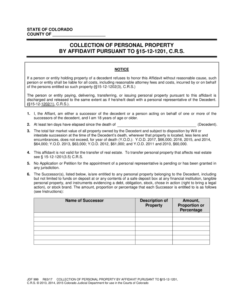 Free Colorado Small Estate Affidavit | Form JDF 999 - PDF | eForms