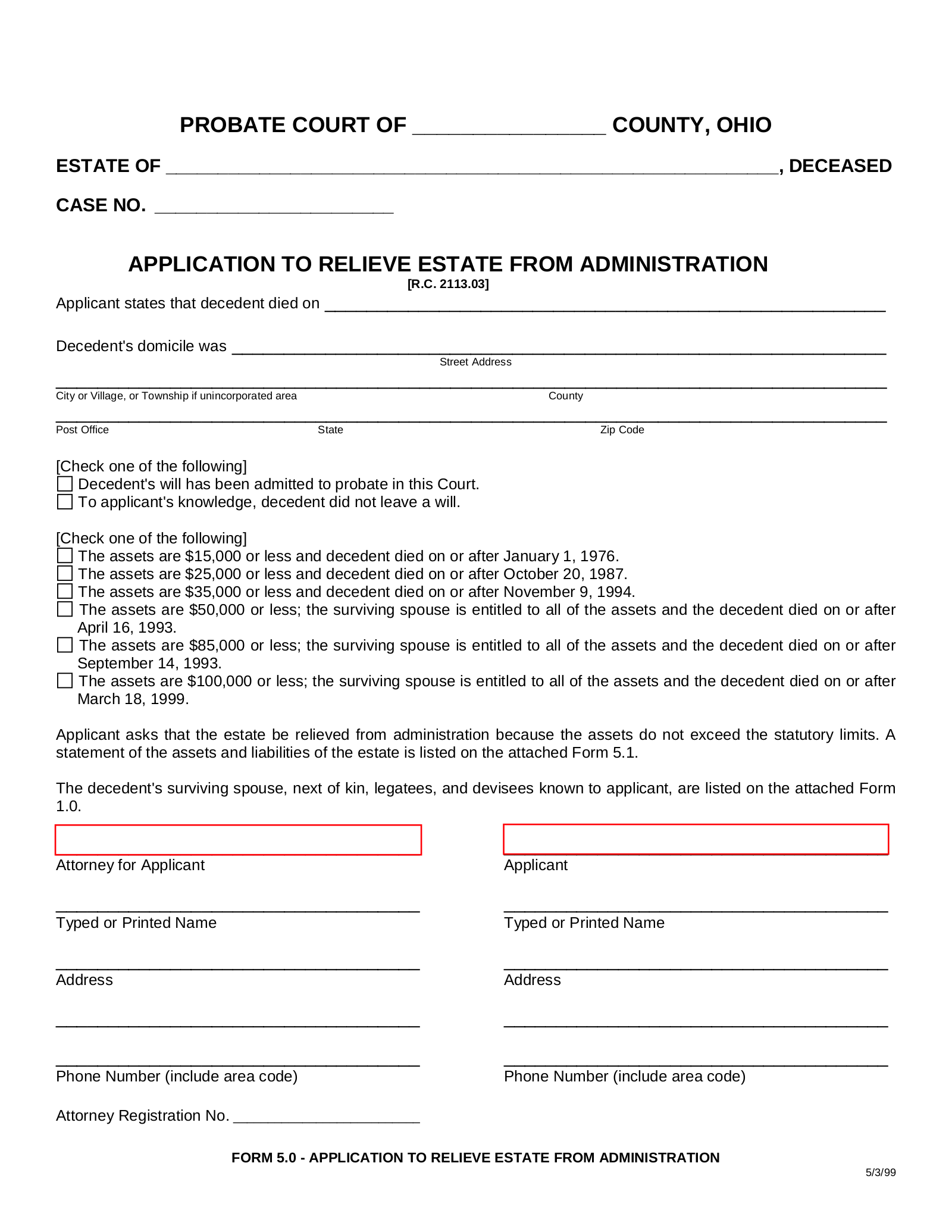 Free Ohio Small Estate Affidavit Form | Application for