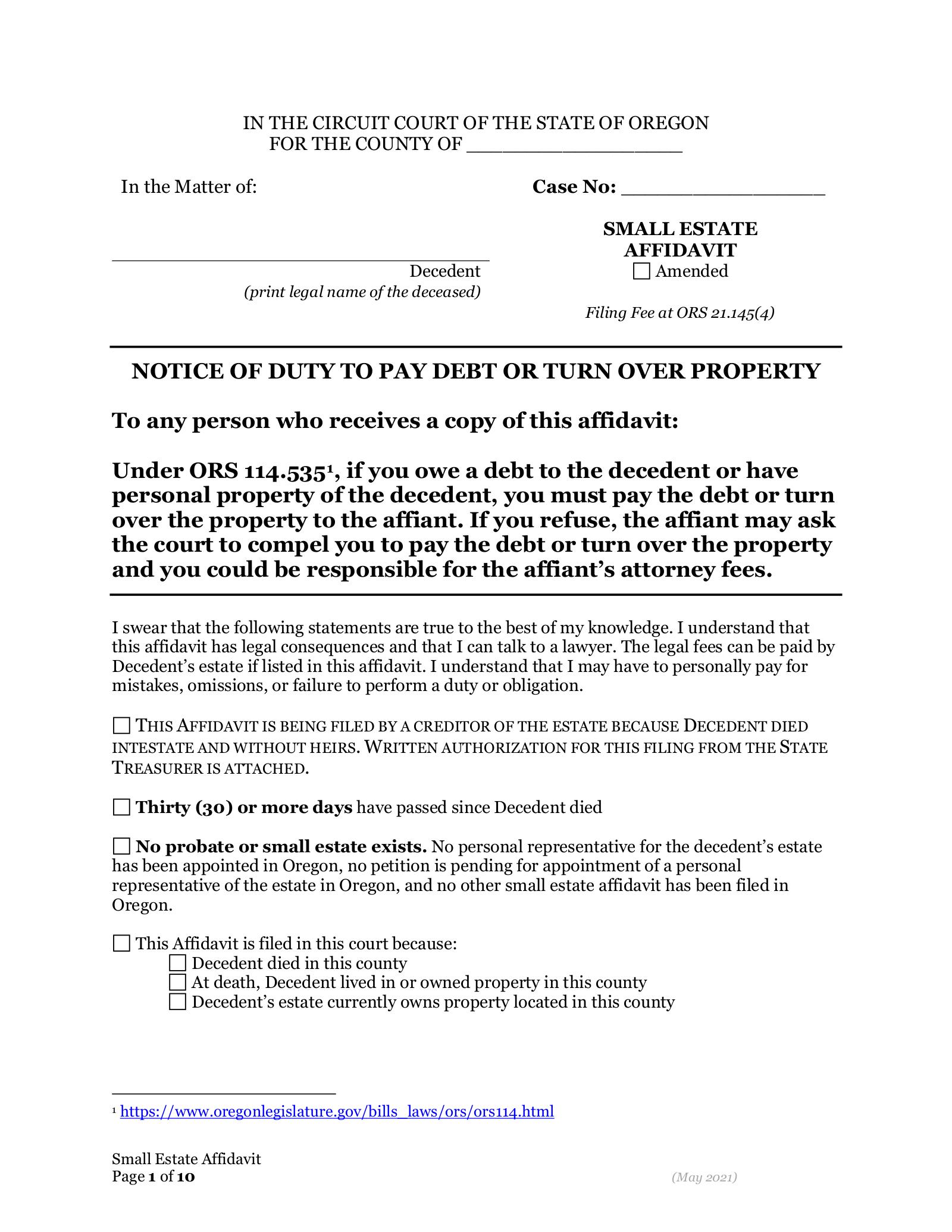 Free Oregon Small Estate Affidavit