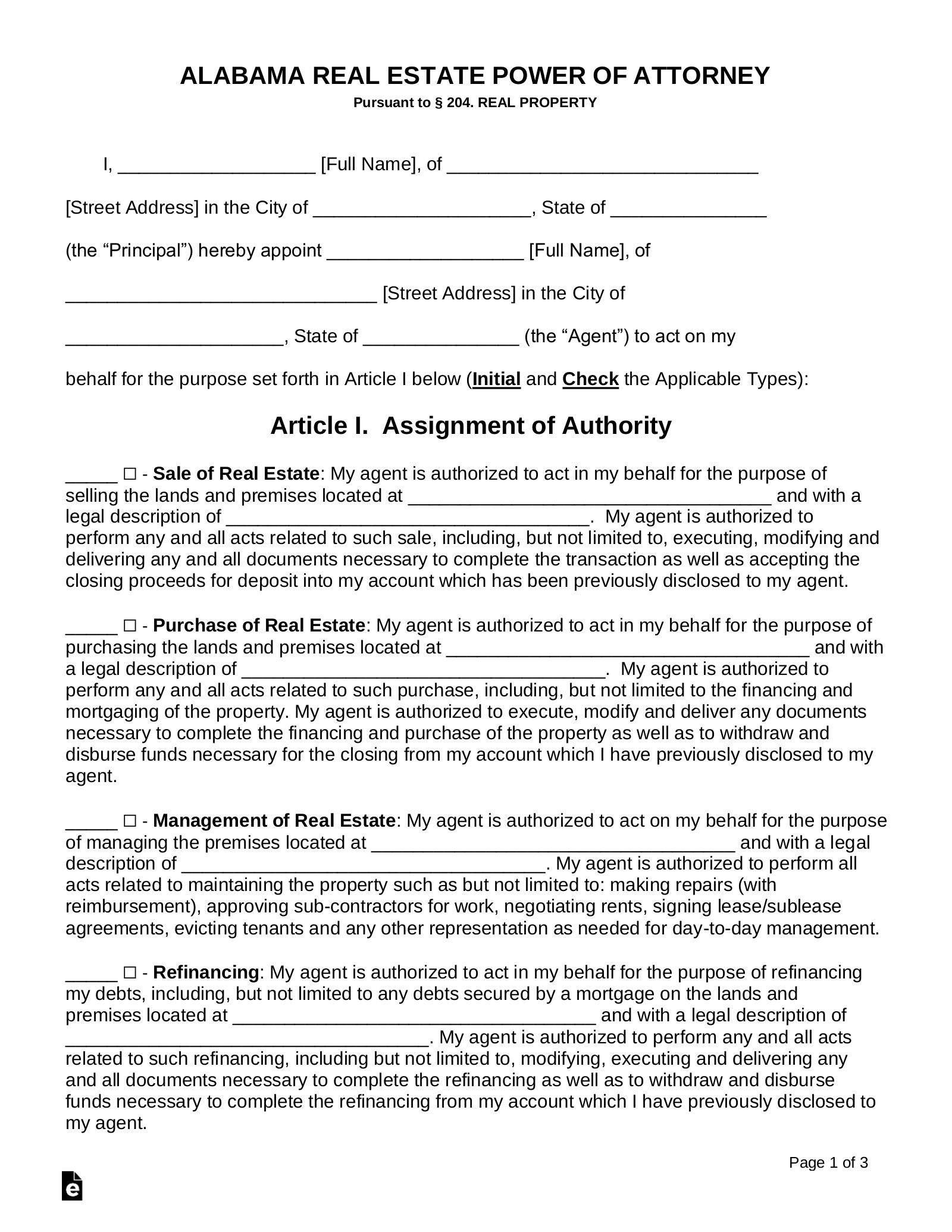 power of attorney form real estate  Free Alabama Real Estate Power of Attorney Form - PDF | Word ...