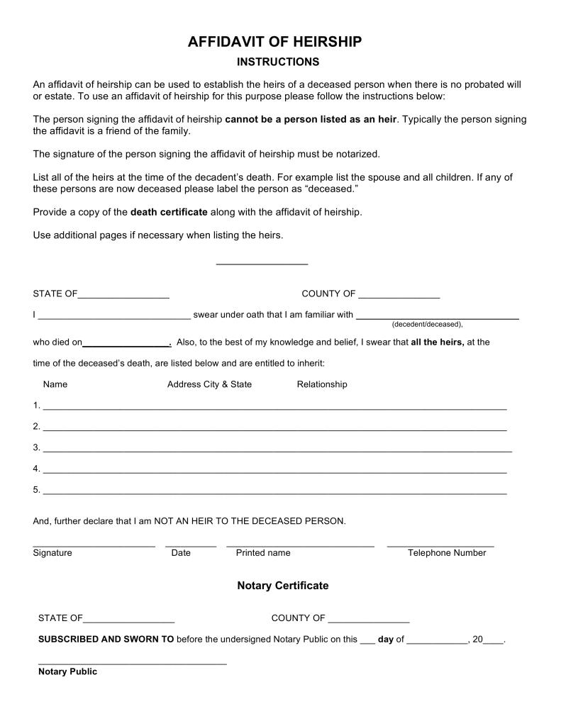 Free Arkansas Affidavit of Heirship Form PDF Word – Affidavit Form Free