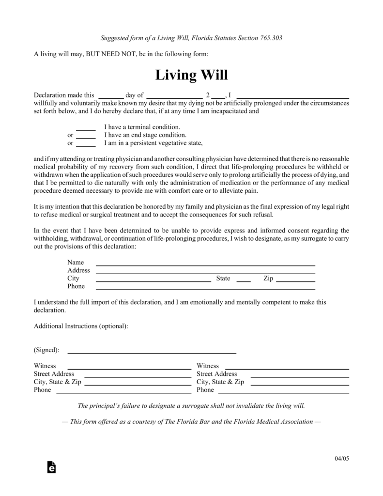simple will form florida Florida Living Will Document. florida life documents planning ...