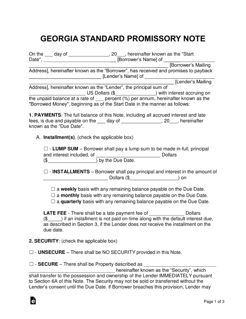 Free Georgia Promissory Note Templates Word PDF – Basic Promissory Note