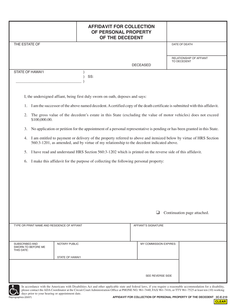 Free Hawaii Small Estate Affidavit Affidavit For Collection Of