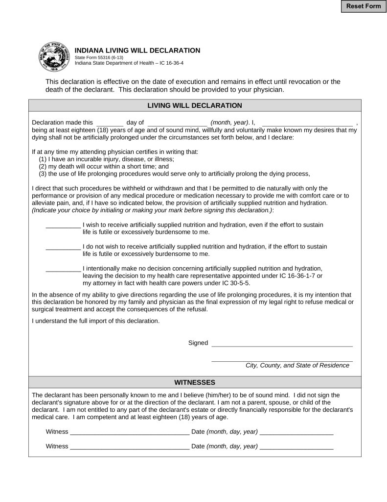 Free Indiana Living Will Declaration | Form 55316 - PDF | eForms ...