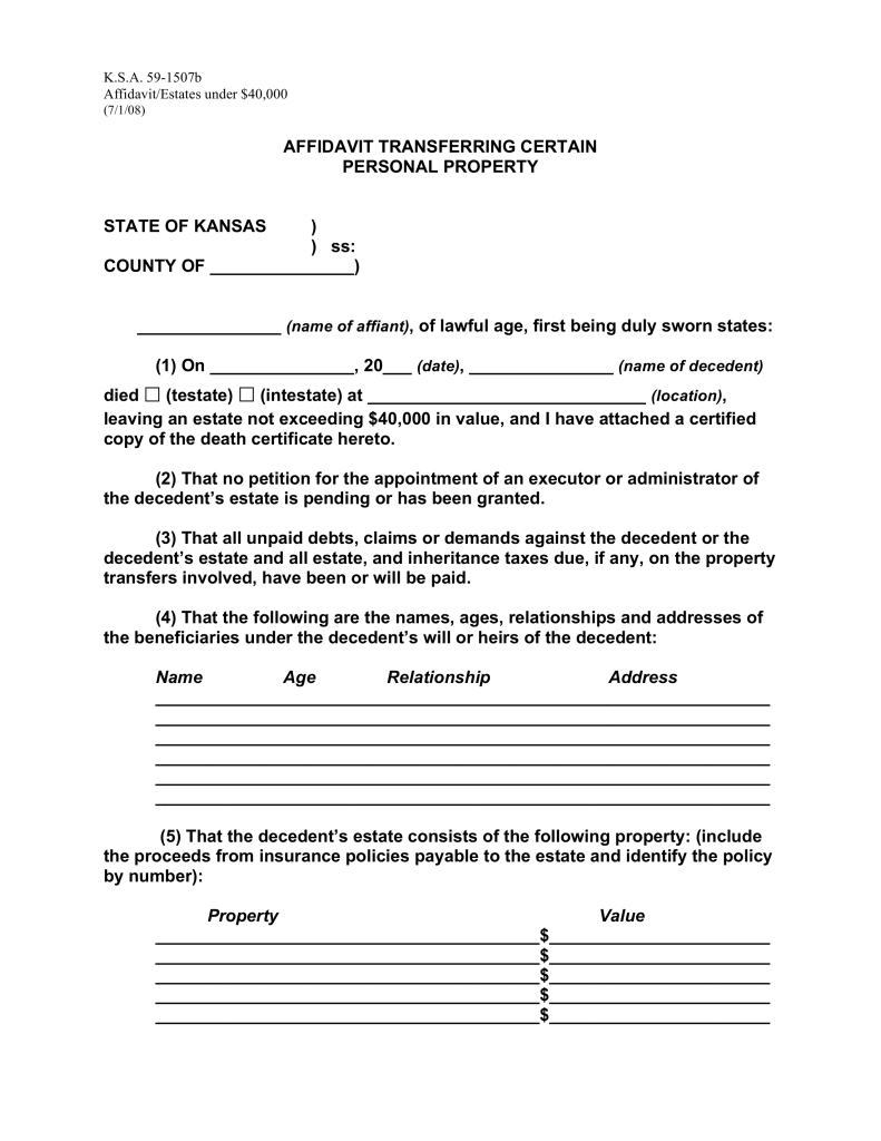 Free kansas small estate affidavit form affidavit transferring how to write spiritdancerdesigns Image collections