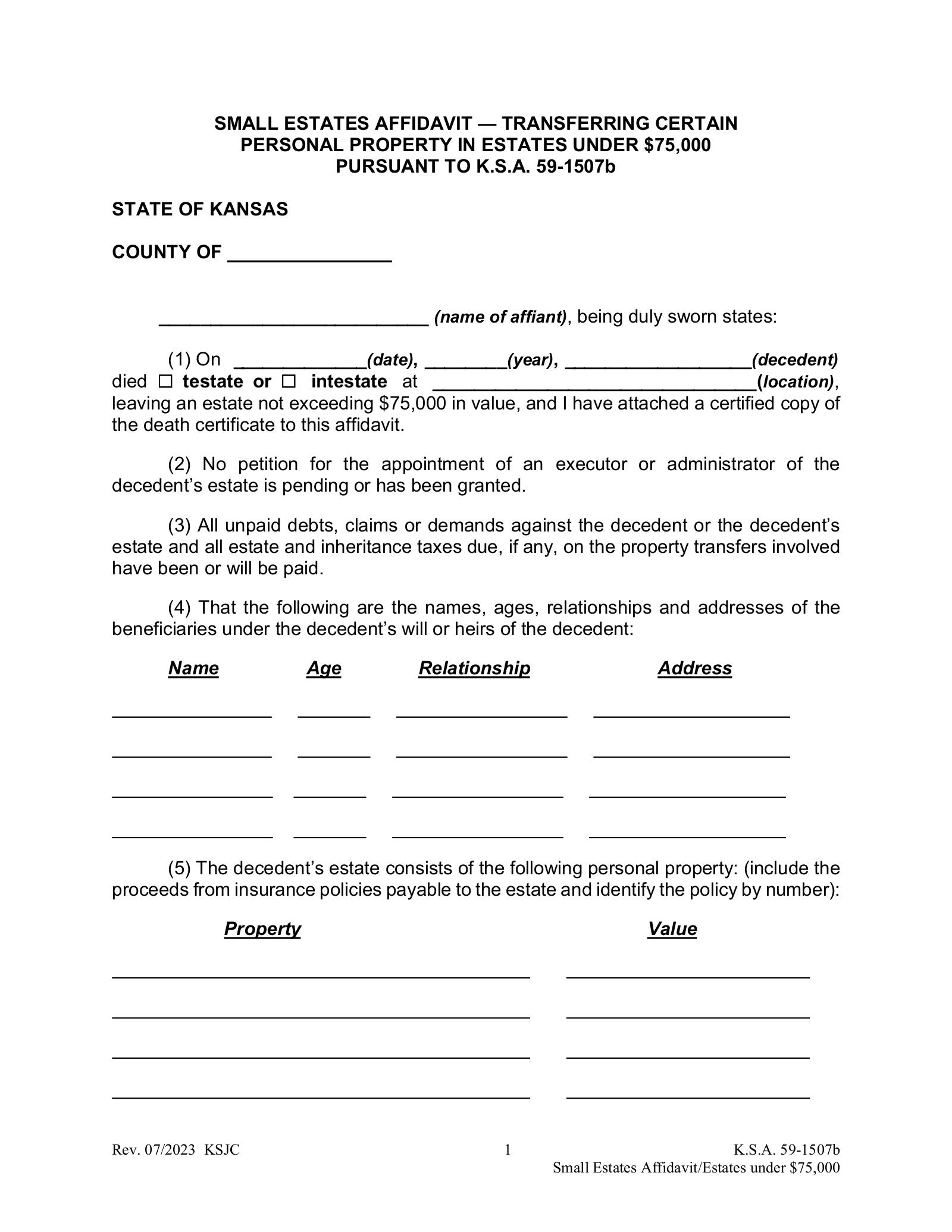 Free Kansas Small Estate Affidavit Form
