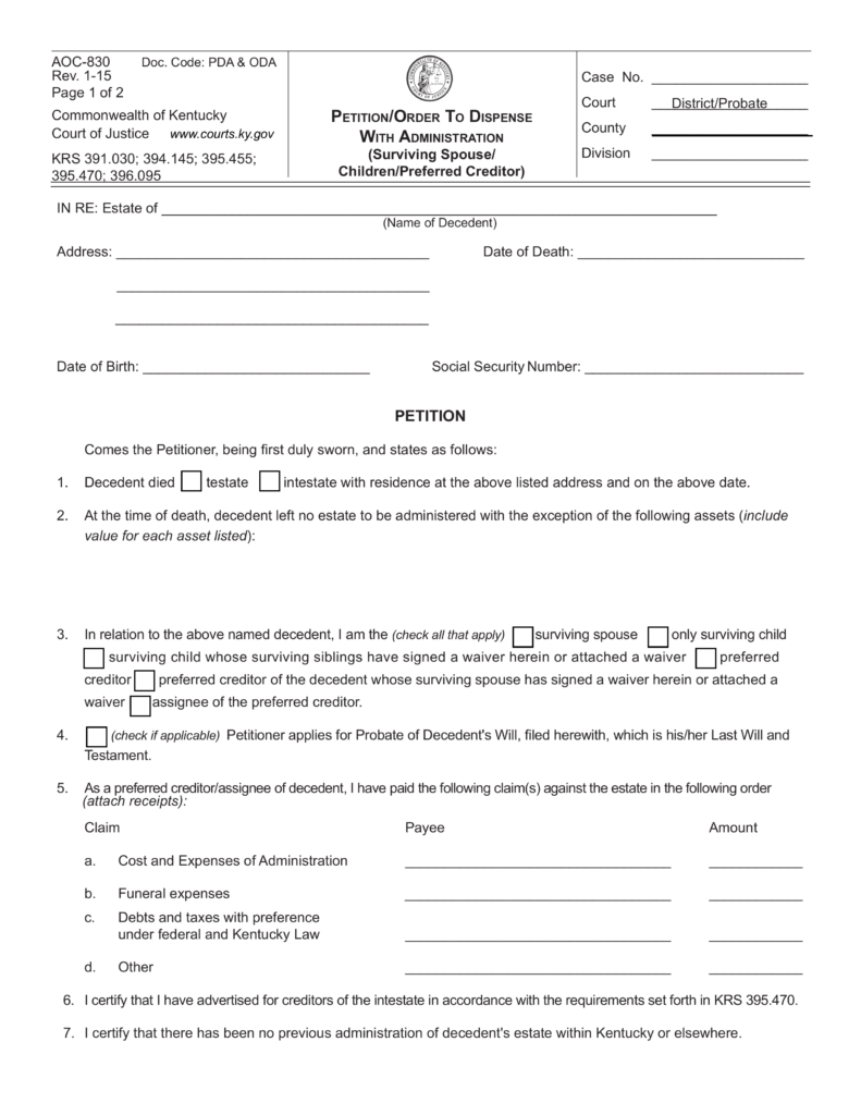 kentucky small estate affidavit | form aoc-830 | eforms – free