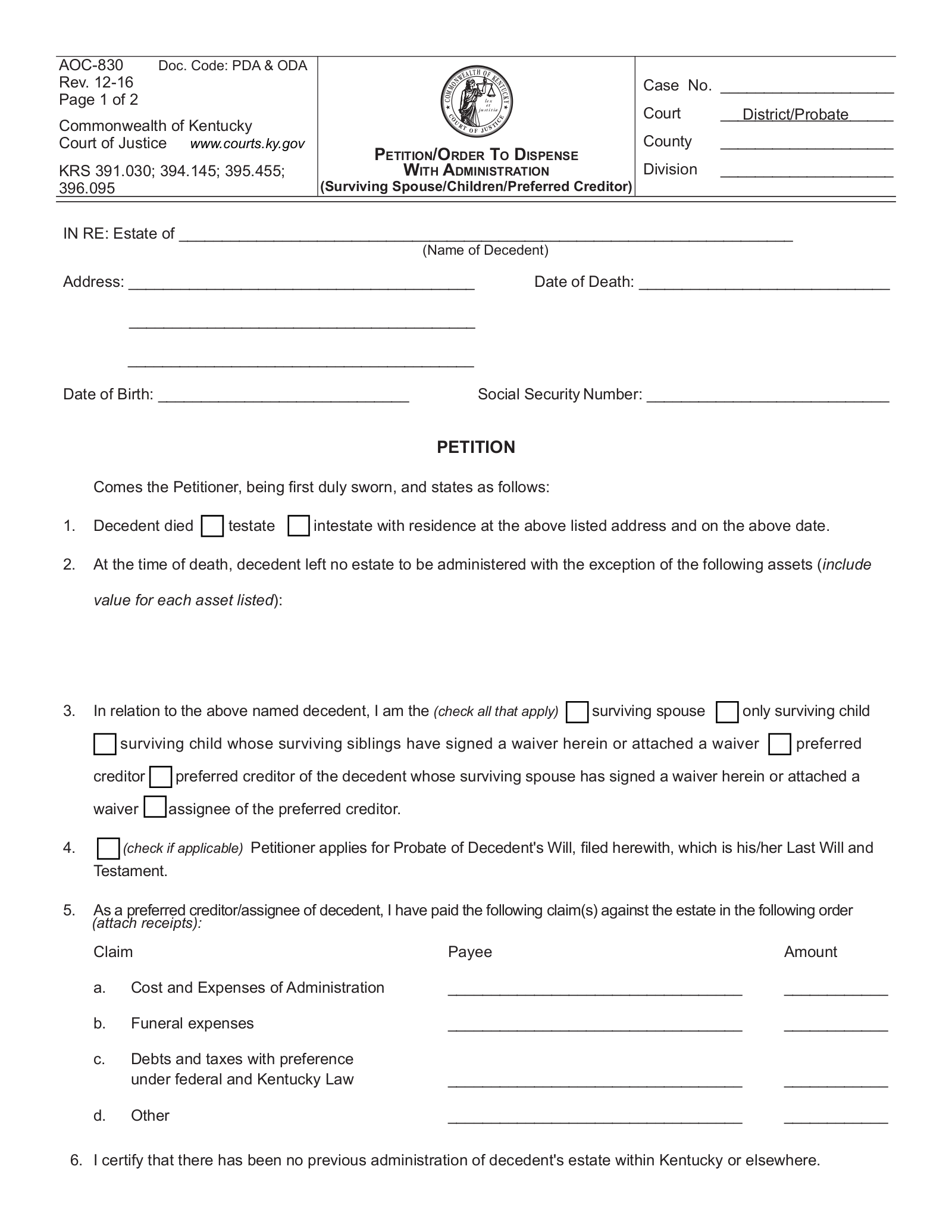 Kentucky Small Estate Affidavit   Form AOC-830   eForms