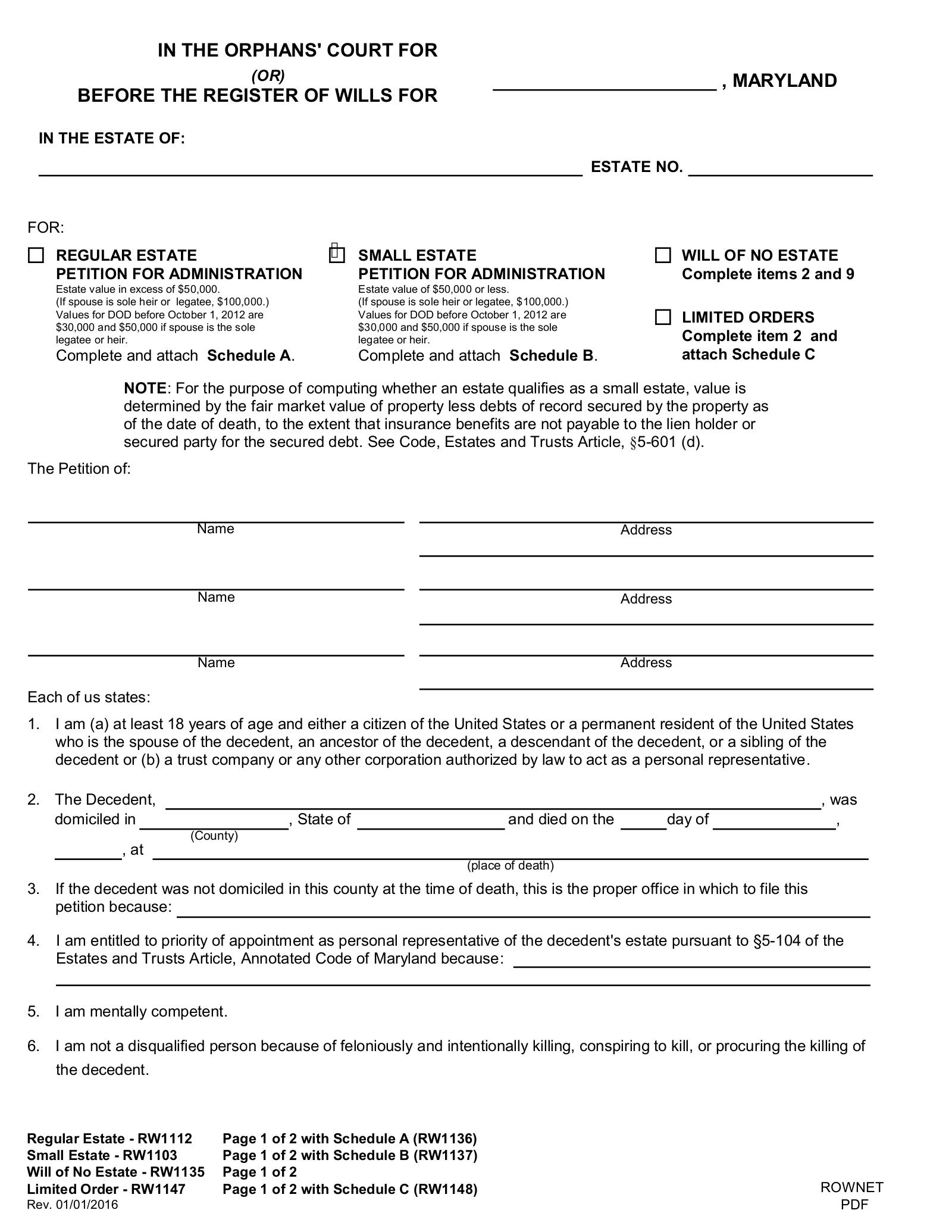 Free Maryland Small Estate Affidavit   Form RW30   PDF – eForms