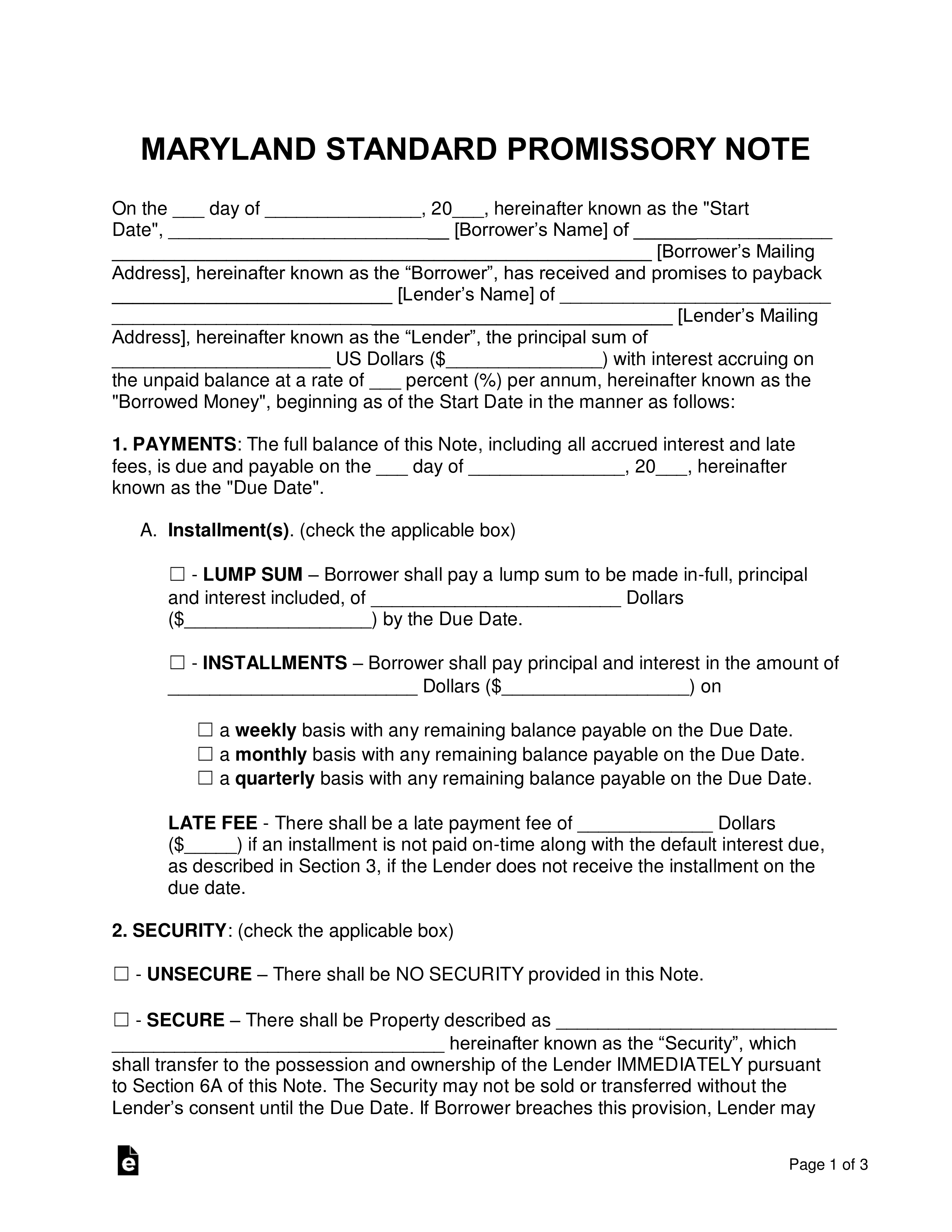 Free Maryland Promissory Note Templates Word Pdf