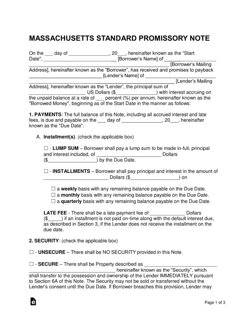 Free Massachusetts Promissory Note Templates   PDF | Word | EForms U2013 Free  Fillable Forms