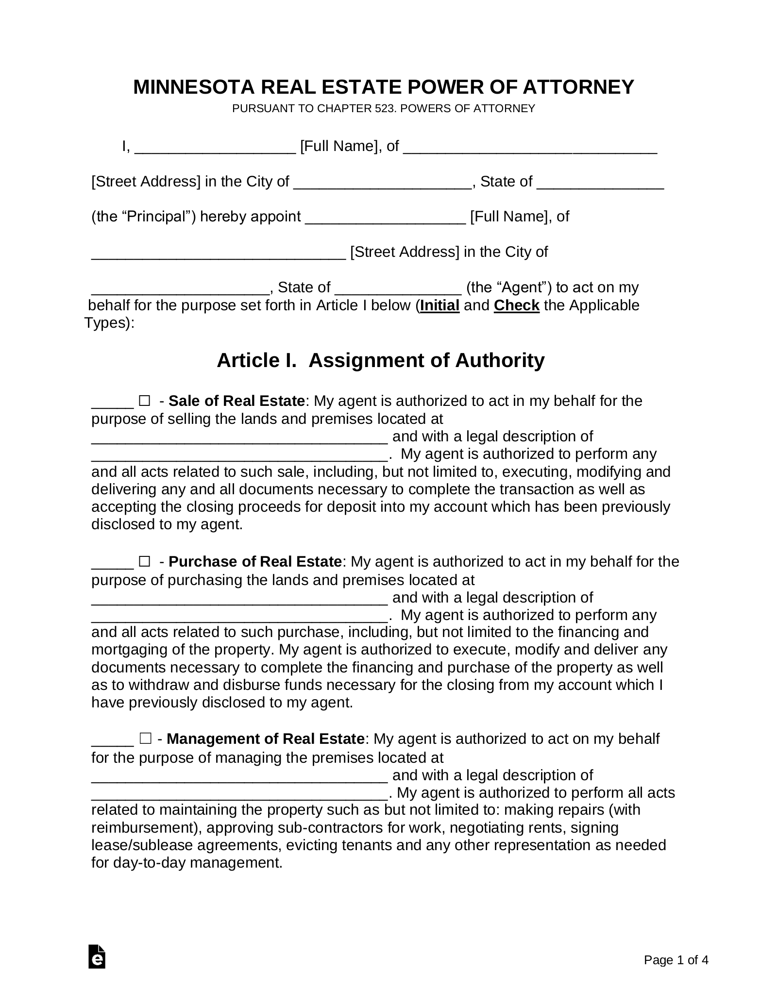 power of attorney form mn  Free Minnesota Real Estate Power of Attorney Form - PDF ...