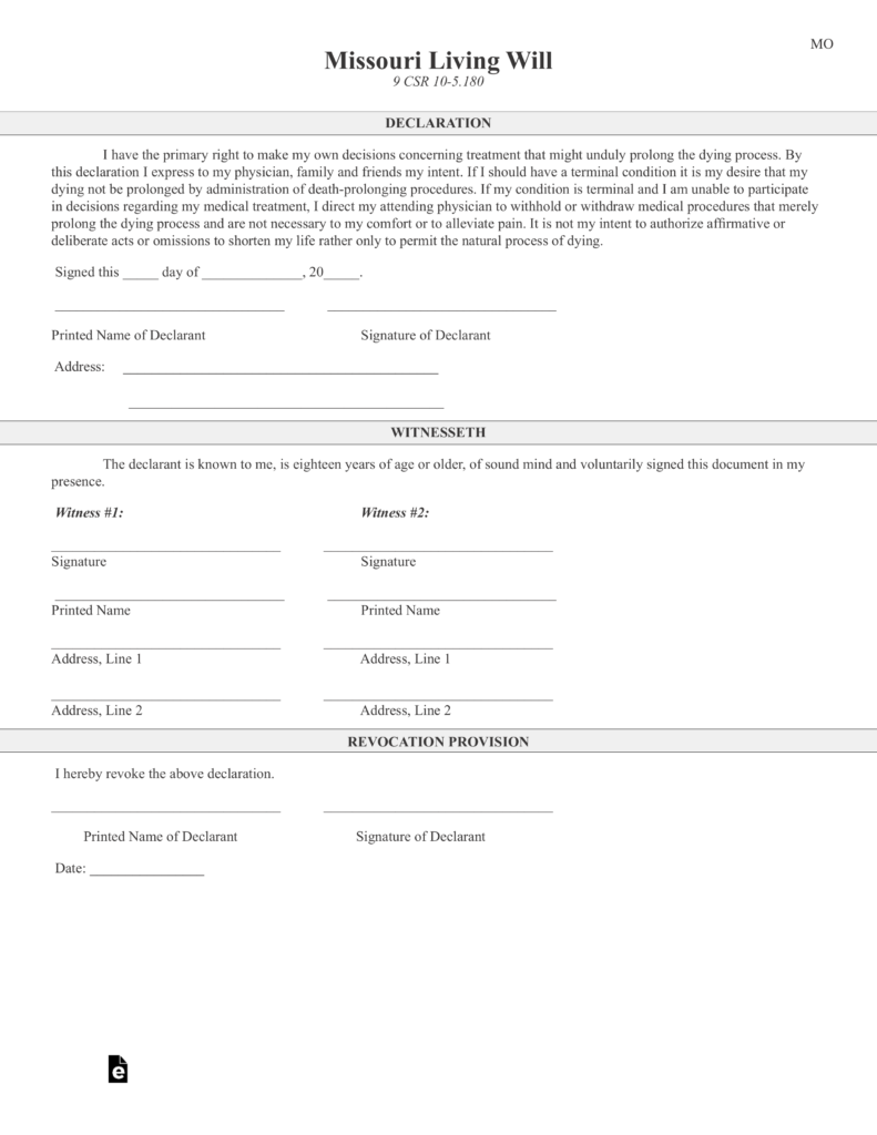 Free Missouri Living Will Declaration Form PDF – Living Will Form