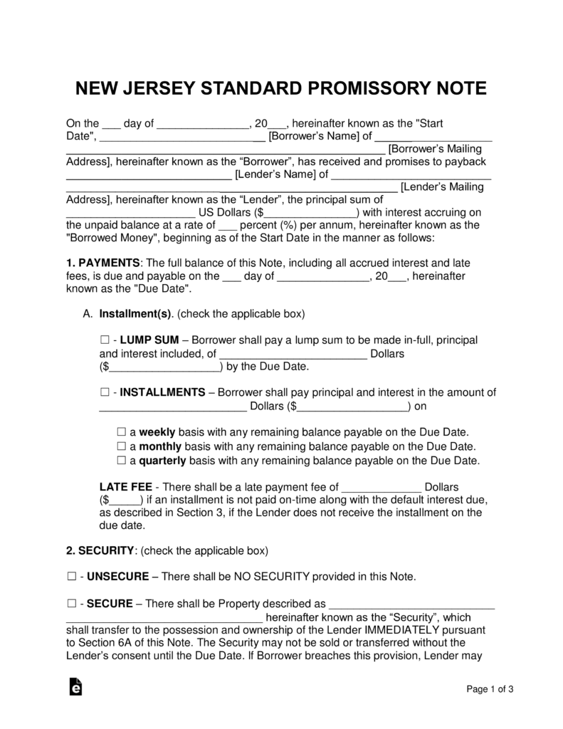 Free New Jersey Promissory Note Templates   Word | PDF | EForms U2013 Free  Fillable Forms  Promissory Letter Sample
