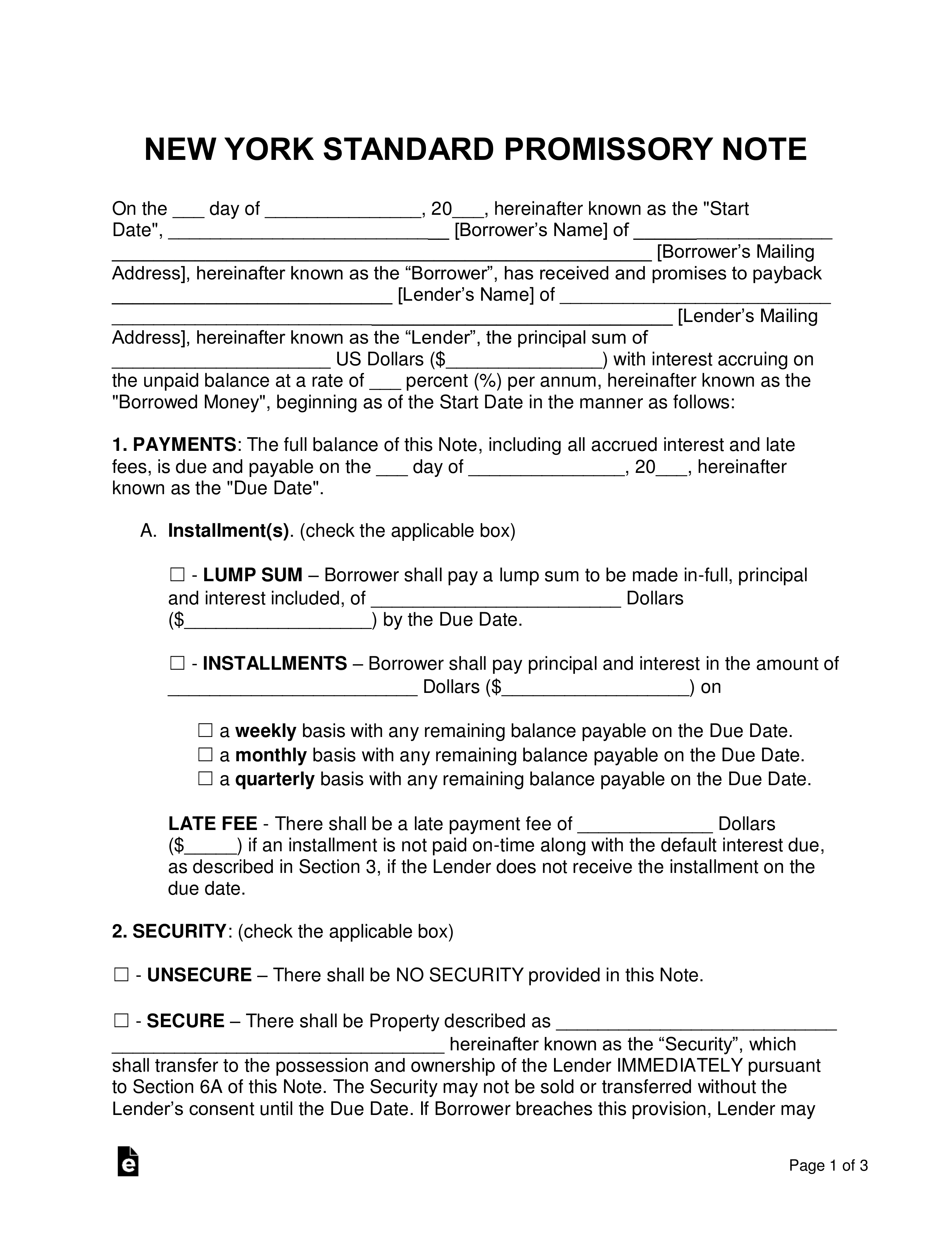 free new york promissory note templates