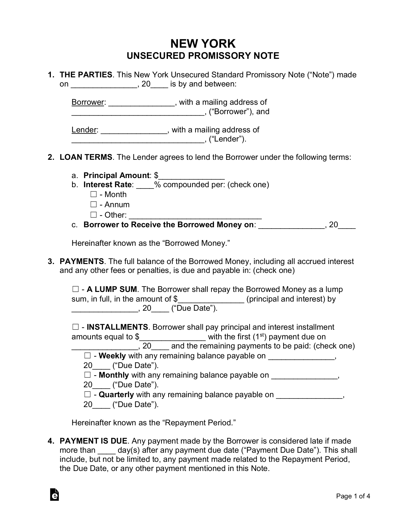 Free New York Unsecured Promissory Note Template   Word   PDF – eForms