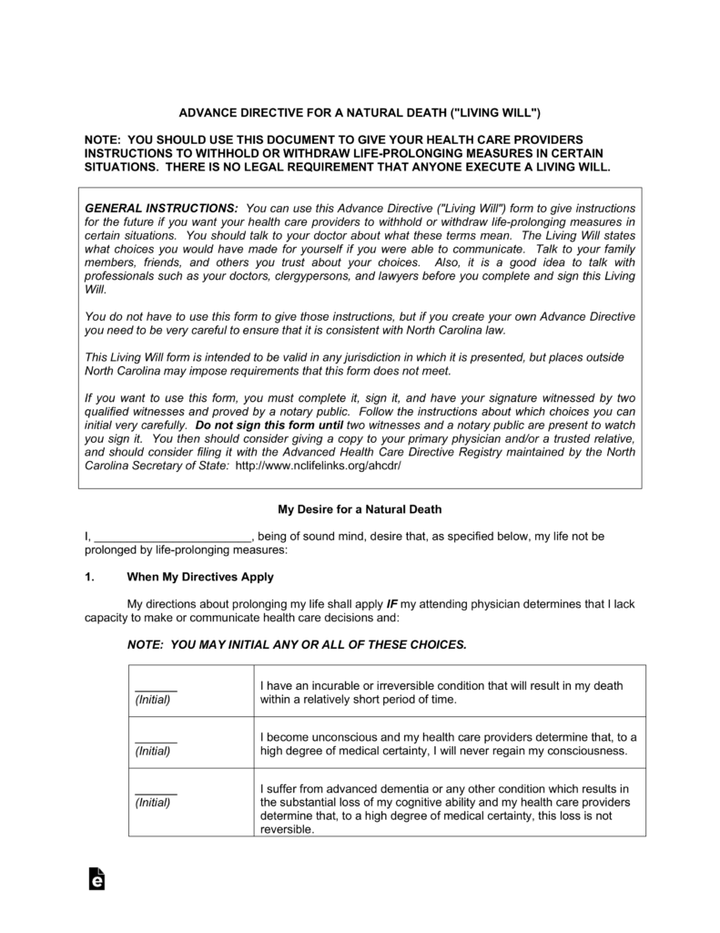 Free North Carolina Living Will | Advance Directive - PDF | eForms ...