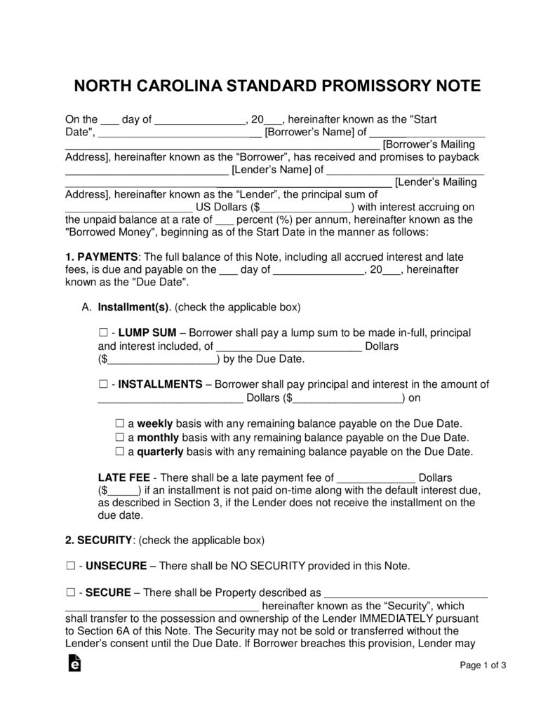 Free North Carolina Promissory Note Templates Word Pdf Eforms
