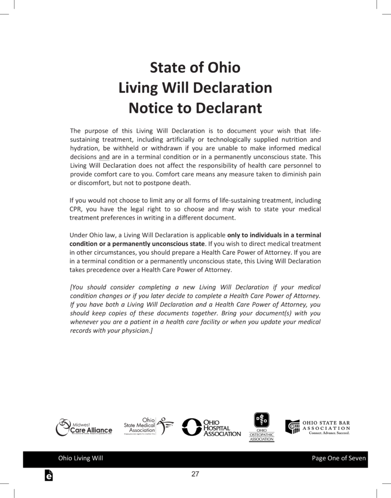 Free Ohio Living Will Declaration | Advance Directive - PDF ...