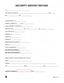 Free Security Deposit Return Letter   PDF | Word | eForms – Free