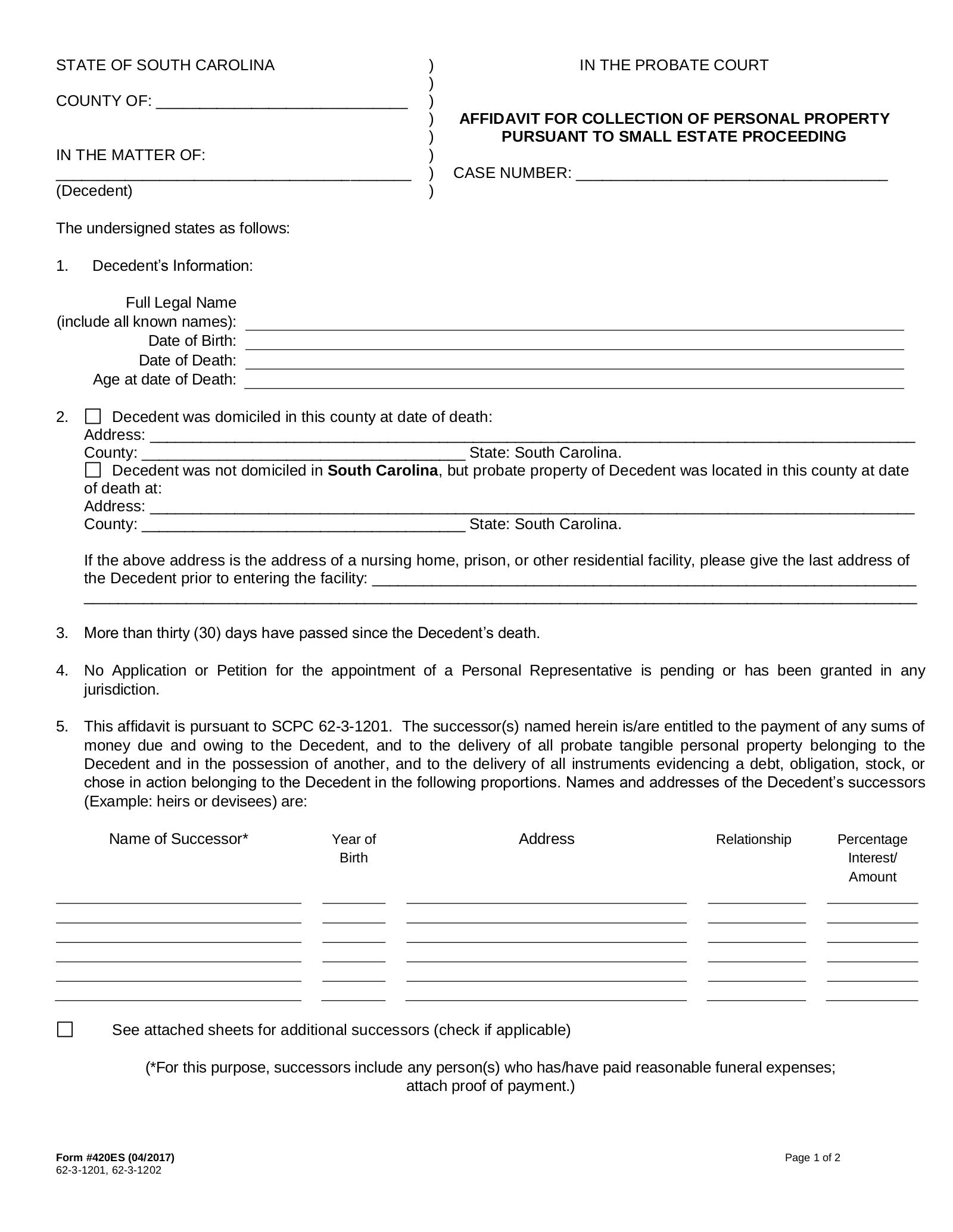Free South Carolina Small Estate Affidavit | Form 420ES