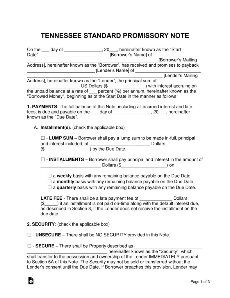 Free tennessee promissory note templates word pdf eforms free tennessee promissory note templates word pdf eforms free fillable forms altavistaventures Image collections