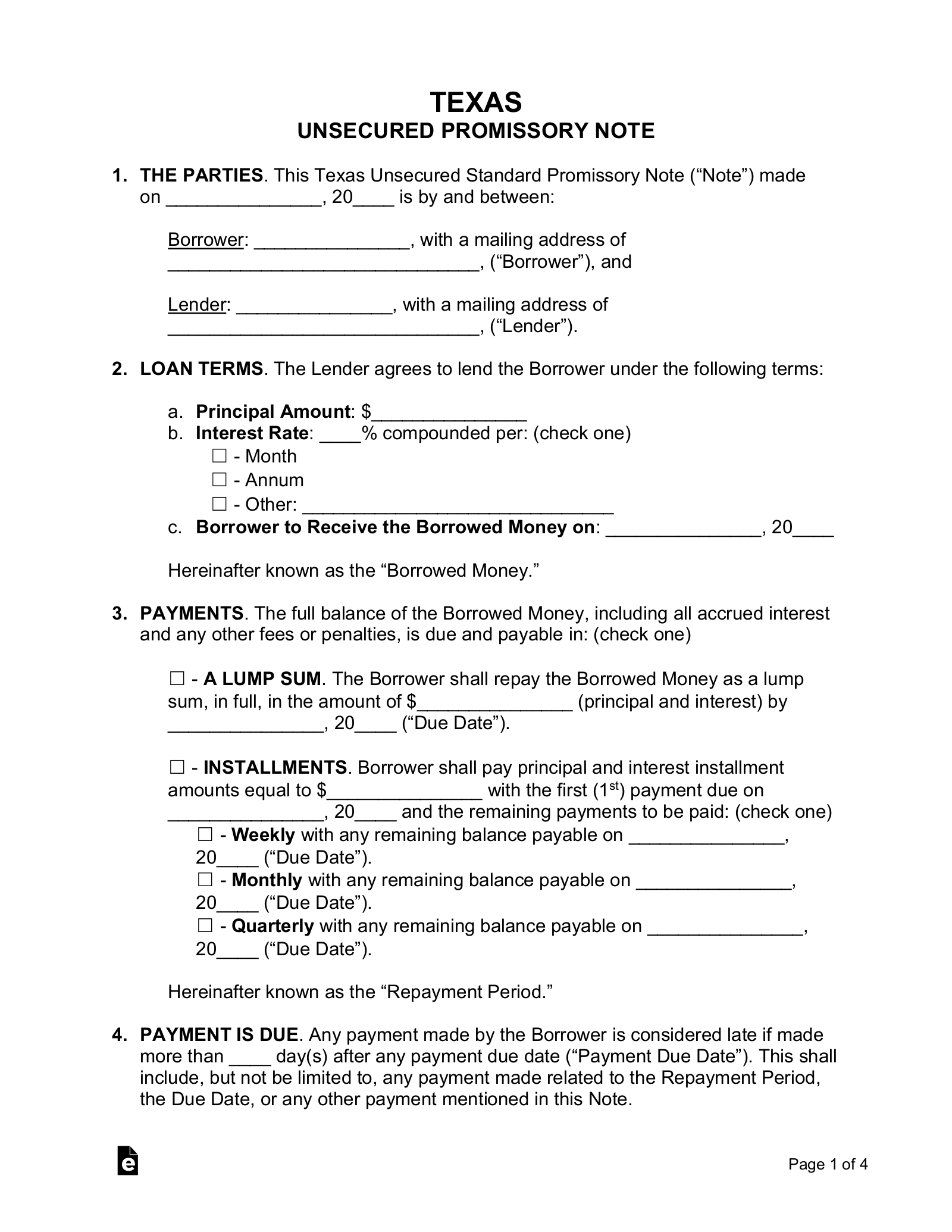 Free Texas Unsecured Promissory Note Template Word Pdf