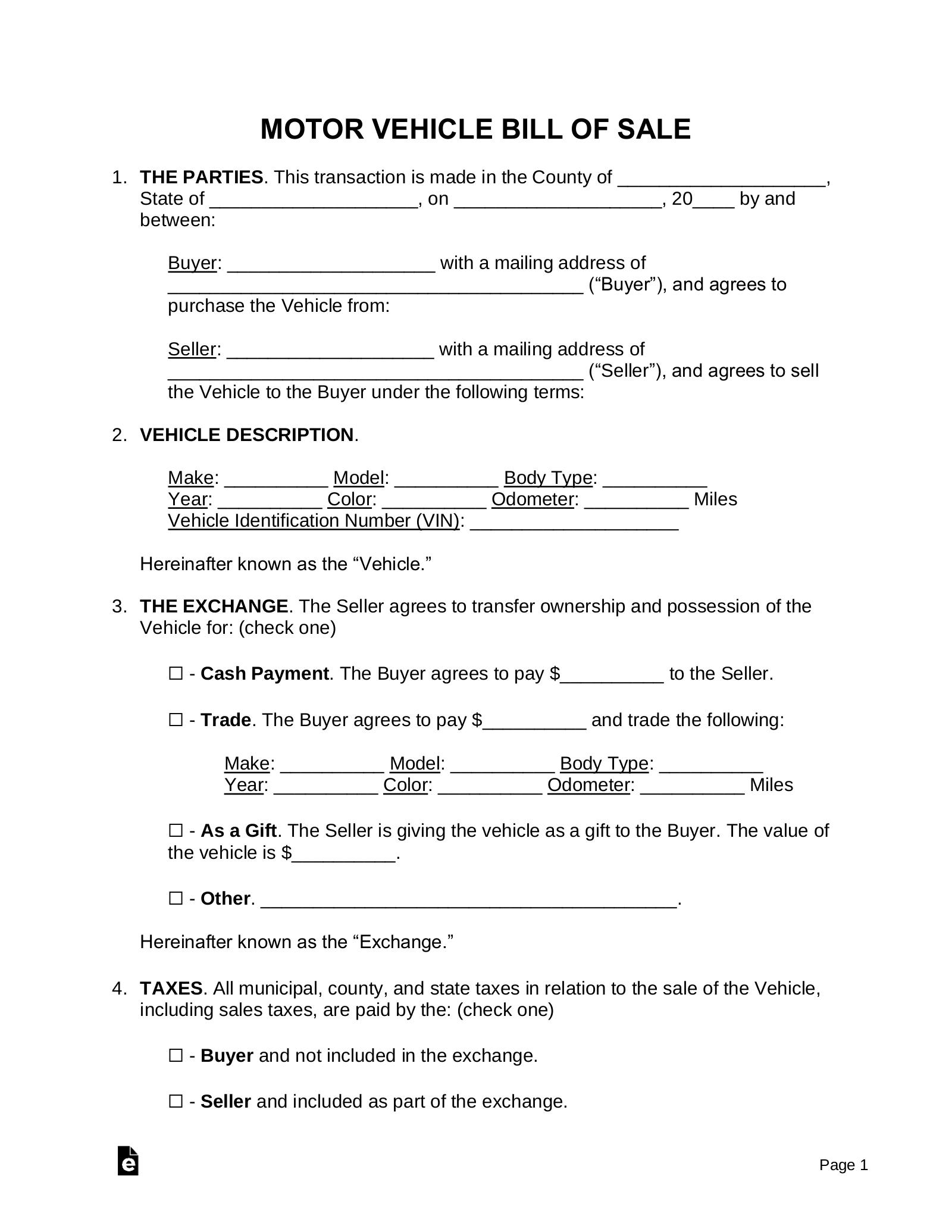 Free Motor Vehicle DMV Bill of Sale Form   Word   PDF – eForms