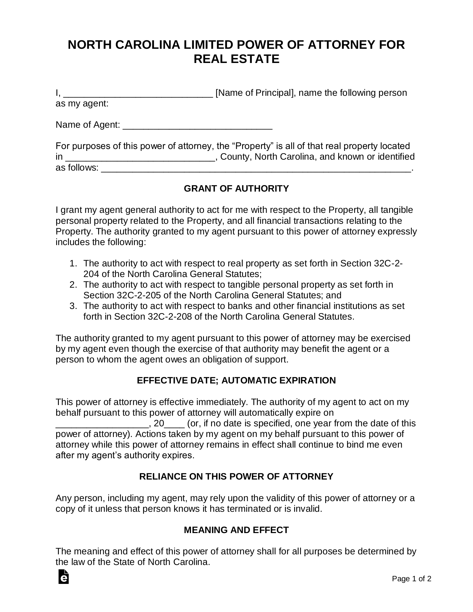 real estate power of attorney form  Free North Carolina Real Estate Power of Attorney Form - PDF ...