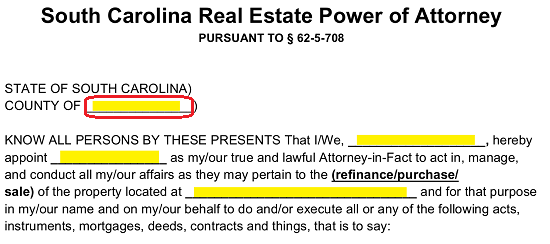 Free South Carolina Real Estate Power of Attorney Form - Word | PDF