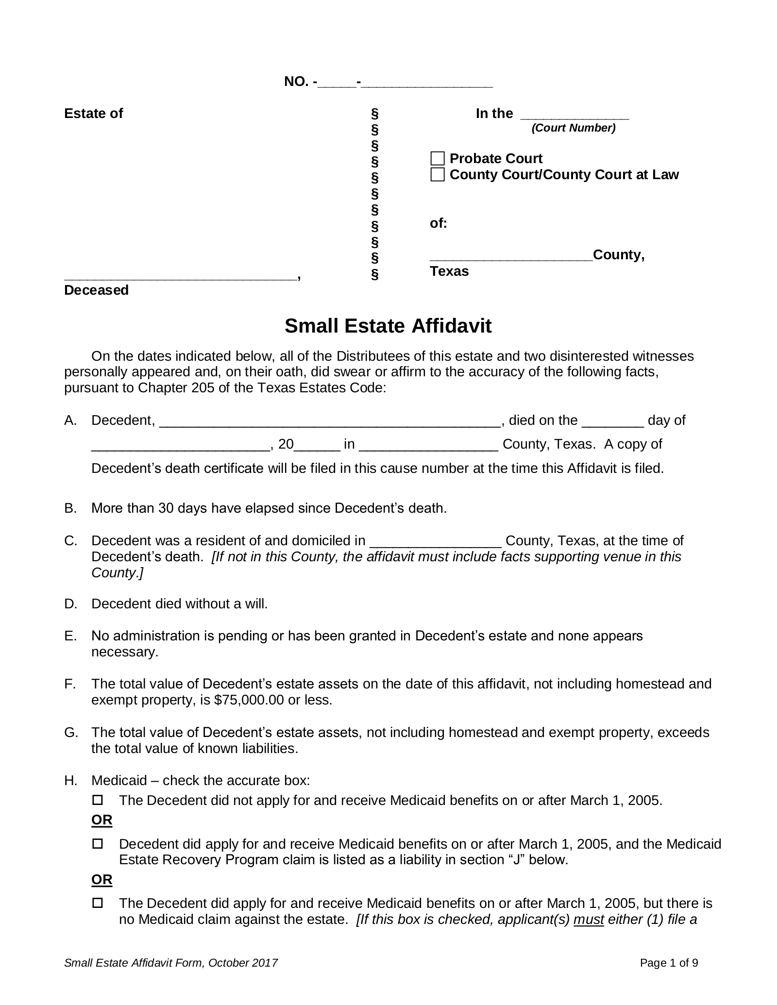 Free Texas Small Estate Affidavit Form - PDF | eForms – Free