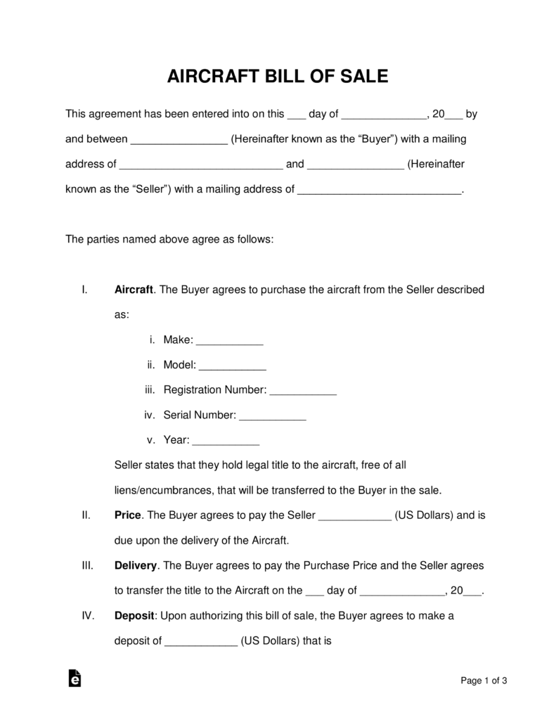Free Aircraft Airplane Bill Of Sale Form Word