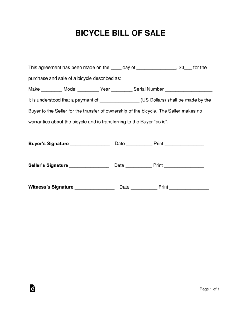 Free Bicycle Bill Of Sale Form   PDF | Word | EForms U2013 Free Fillable Forms