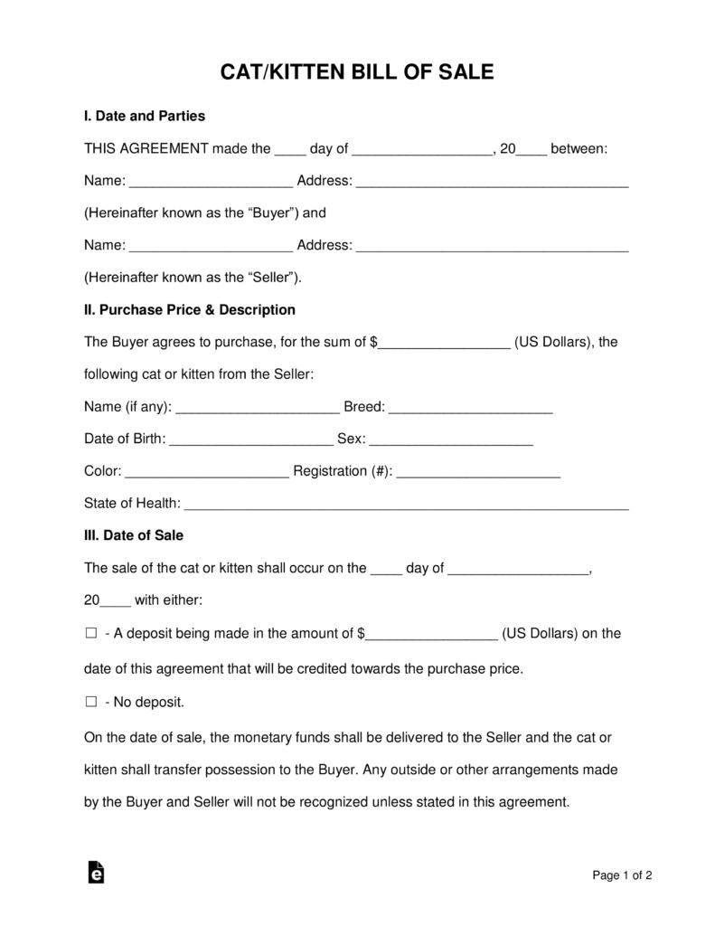 free catkitten bill of sale form pdf word eforms free fillable forms - Business Bill Of Sale Form