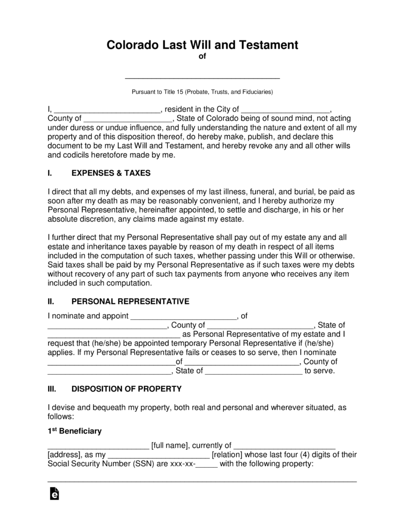sample will format Free Colorado Last Will and Testament Template - PDF | Word | eForms ...