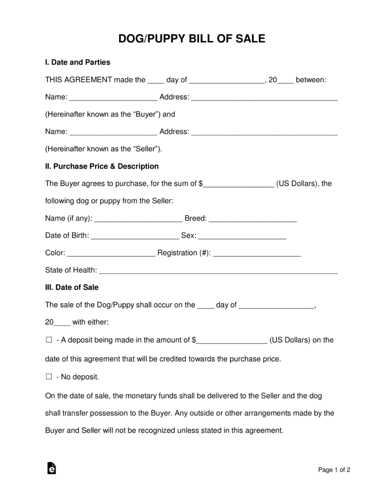 Free Dogpuppy Bill Of Sale Form Word Pdf Eforms Free