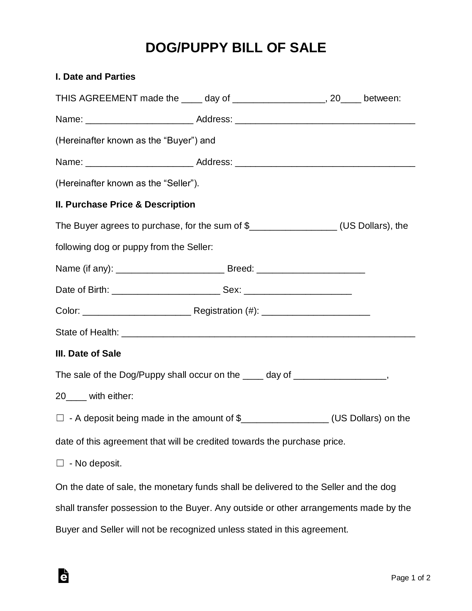 Free Dog/Puppy Bill of Sale Form - Word | PDF | eForms