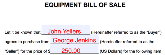Free Equipment Bill of Sale Form - Word | PDF | eForms – Free ...