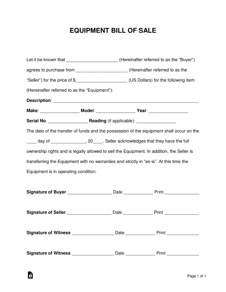 Free Equipment Bill of Sale Form Word PDF – Template for a Bill of Sale