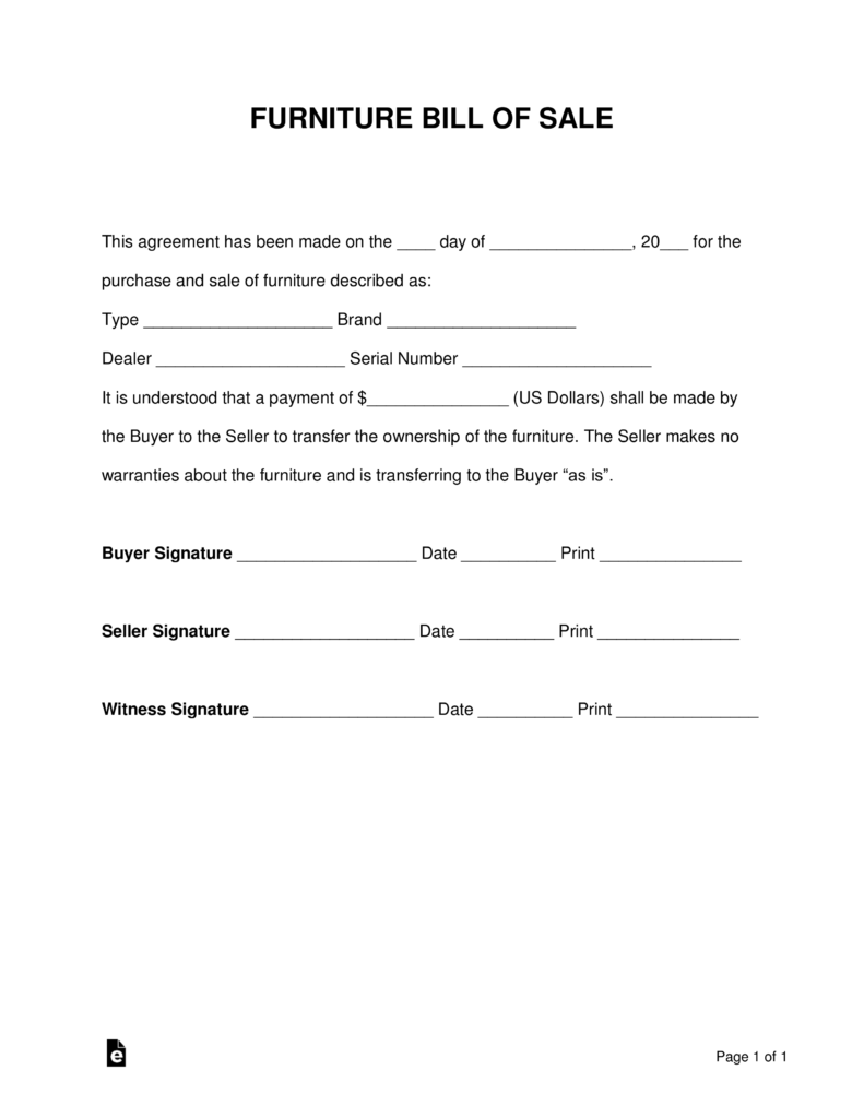 Free Furniture Bill of Sale Form PDF Word – Bill of Sale Word Document