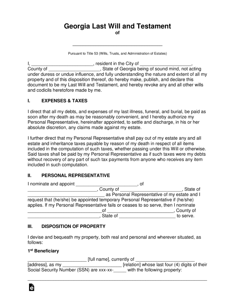 Free Georgia Last Will and Testament Template - PDF | Word ...