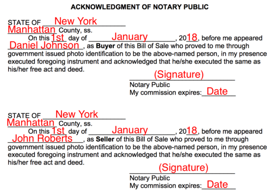 Step 6 U2013 Acknowledgement Of Notary Public  Free Horse Bill Of Sale