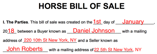 Free Horse Bill Of Sale Form Word Pdf Eforms Free Fillable Forms