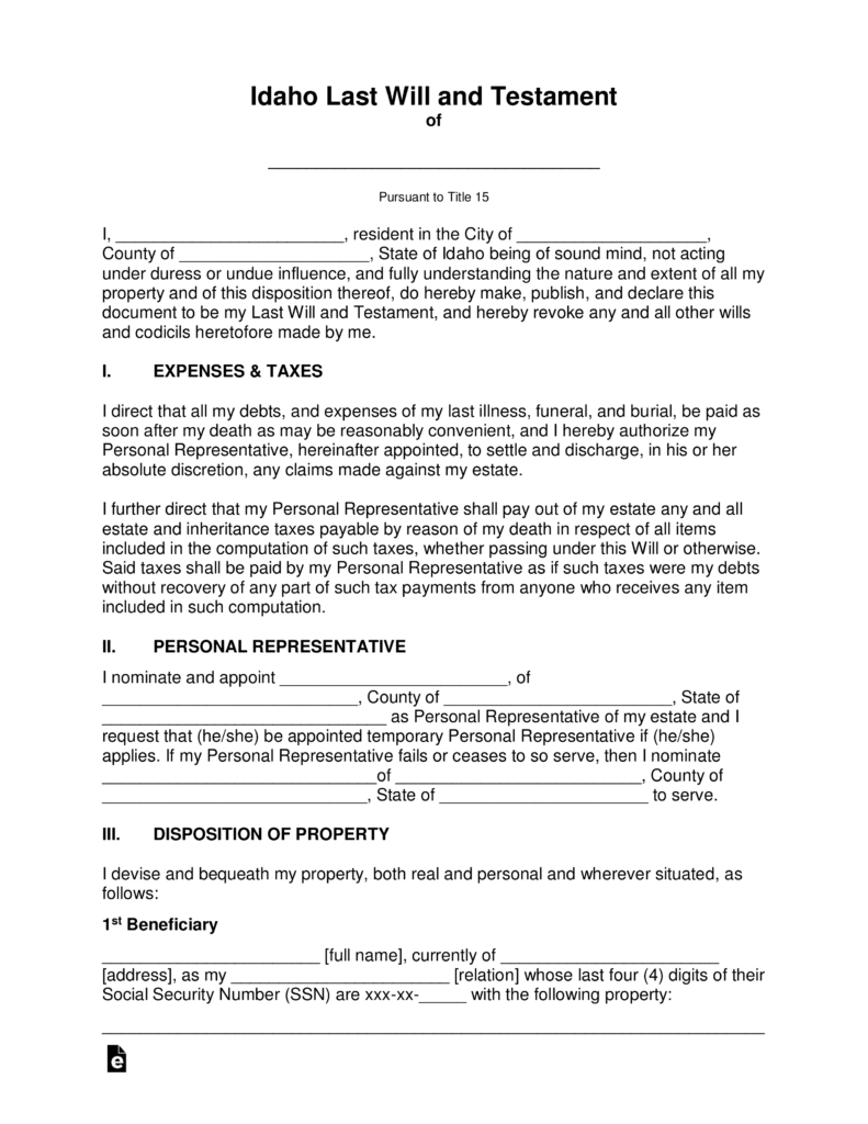 Free idaho last will and testament template pdf word eforms free idaho last will and testament template pdf word eforms free fillable forms 1betcityfo Choice Image