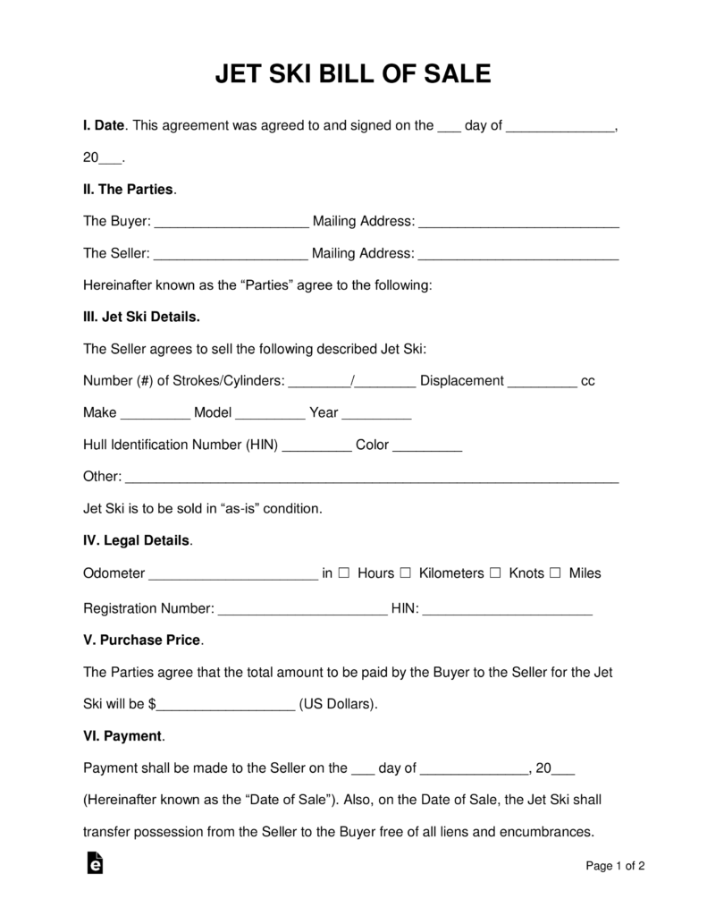 Free Jet Ski Bill of Sale Form Word PDF – Bill of Sale Word Document