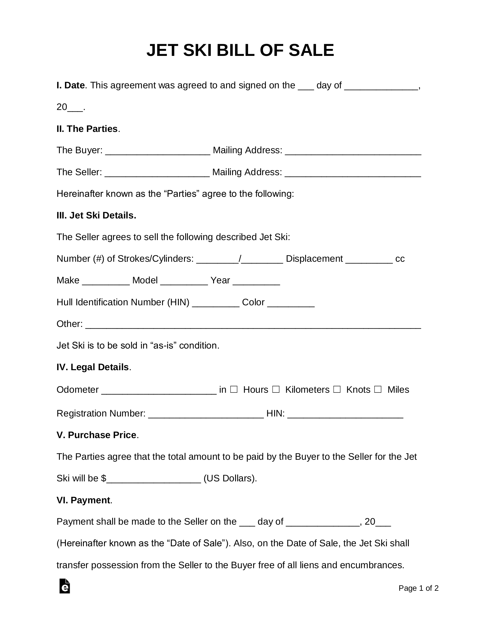 Bill Of Sale Form Texas >> Free Jet Ski Bill Of Sale Form Word Pdf Eforms Free