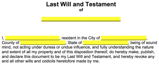 Free last will and testament templates a will pdf for Wills and testaments templates