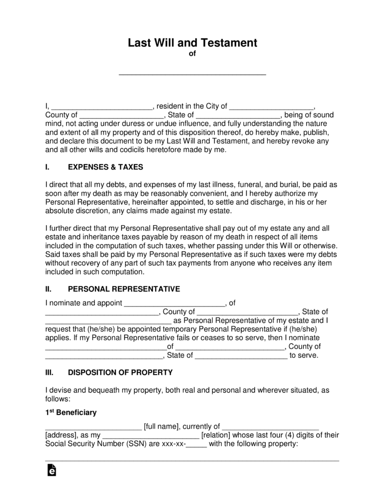 Last will and testament templates a will eforms for Easy last will and testament free template