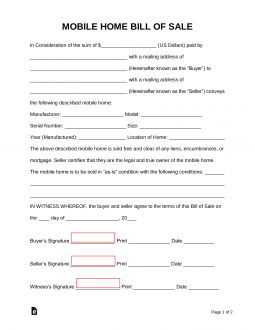 Free Mobile Manufactured Home Bill Of Sale Form Word